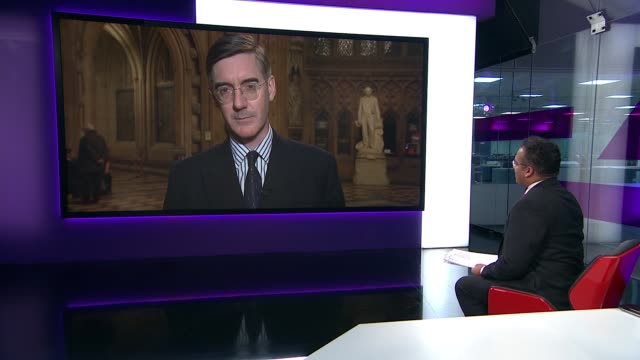 PM under pressure to publish leaked Brexit report ENGLAND London GIR INT Jacob ReesMogg MP 2 WAY interview from Commons Lobby SOT