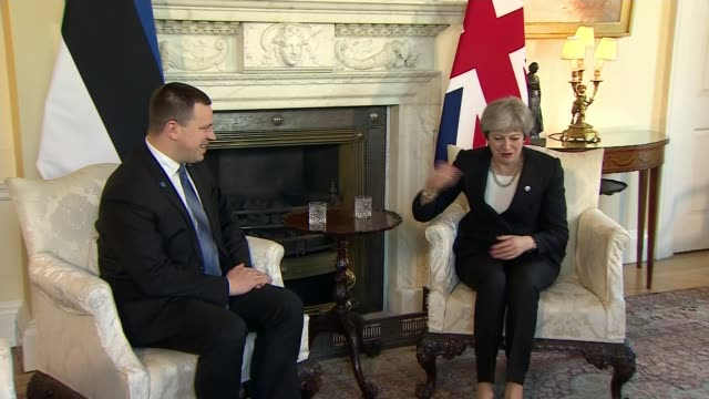 PM under pressure to publish leaked Brexit report ENGLAND London Downing Street INT Prime Minister Theresa May MP into room for meeting with Estonian...