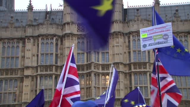 ProEU protest outside Houses of Parliament ENGLAND London Westminster Man and woman carrying EU and UK flags / EU and UK flags being flown outside...