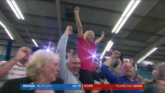 Brexit prompts large full in net immigration figures T24061620 / 2462016 Sunderland INT Leave supporters celebrating their victory in the EU...