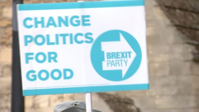 protest vote expected in peterborough byelection peterborough uk various shots of brexit party labour and liberal democrat promotion in city joshua... - nachwahl stock-videos und b-roll-filmmaterial