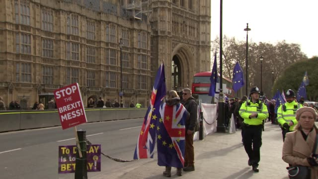 protesters outside houses of parliament england london westminster houses of parliament ext various shots of people taking photographs of brexit... - 2016 european union referendum stock videos & royalty-free footage