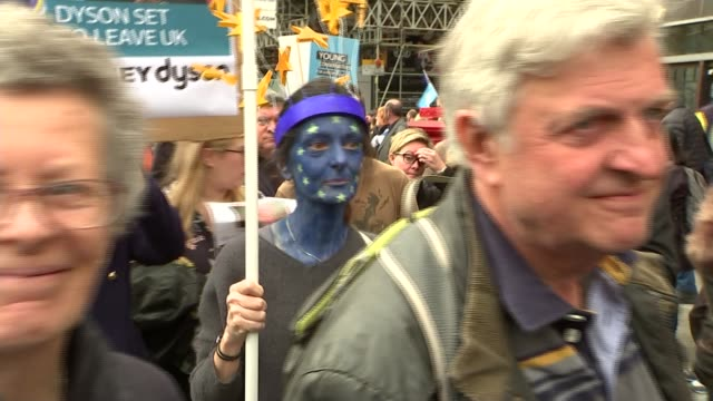 put it to the people march organisers say more than a million join demonstration england london ext demonstrators with placards and banner as... - face paint stock videos & royalty-free footage