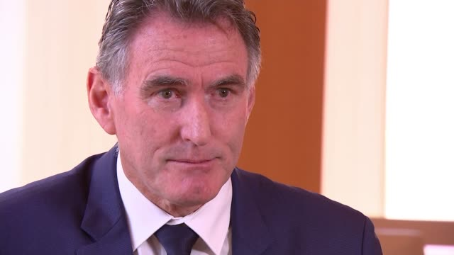 rbs chief executive warns that leaving with no deal could cause recession england int ross mcewan interview sot cutaway reporter - recession stock videos & royalty-free footage