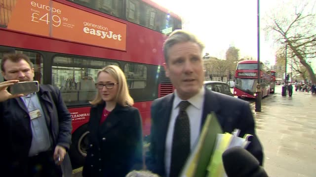 rebecca longbailey and keir starmer doorstep england london westminster whitehall ext keir starmer mp and rebecca longbailey mp arriving and speaking... - seumas milne stock videos & royalty-free footage