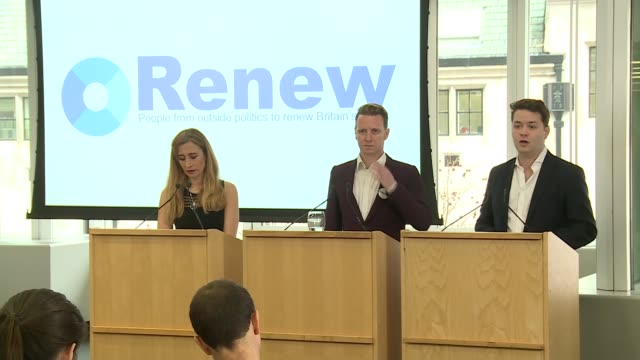 Renew Britain party launch press conference Sandra Khadhouri James Clarke and James Torrence press conference SOT
