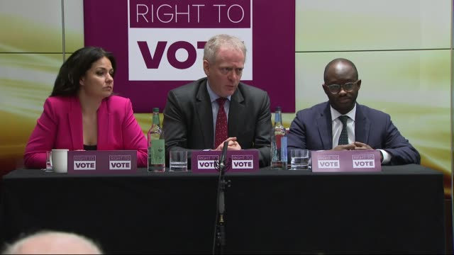 'right to vote' launch press conference; england: london: int heidi allen mp , phillip lee mp and sam gyimah mp q&a session sot / - mp stock videos & royalty-free footage