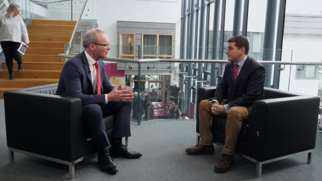 Row over plans for Northern Ireland border continue IRELAND Galway INT Simon Coveney being introduced to people and posing for photocall Coveney...