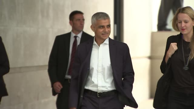 sadiq khan calls for a people's vote on the final deal england london broadcasting house ext sadiq khan arriving at bbc - sadiq khan stock videos & royalty-free footage