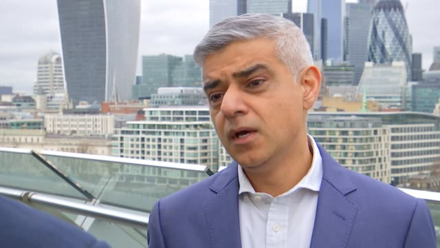 sadiq khan interview england london southwark city hall ext sadiq khan chatting to press / sadiq khan interview sot - sadiq khan stock videos & royalty-free footage