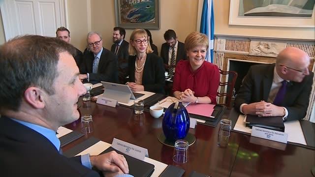 scottish independence row escalates as parliament approves brexit bill; scotland: edinburgh: holyrood house: int nicola sturgeon msp chairs scottish... - nicola sturgeon stock videos & royalty-free footage