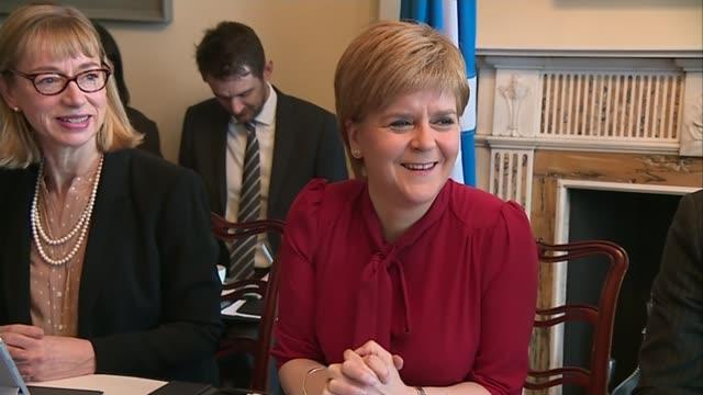 vídeos de stock e filmes b-roll de scottish independence row escalates as parliament approves brexit bill; scotland: edinburgh: holyrood house: int nicola sturgeon msp chairs scottish... - presidente de empresa