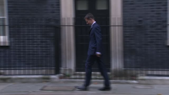 senior cabinet ministers summoned to downing street to review draft brexit deal england london downing street ext caroline nokes mp leaving number 10... - damian hinds stock videos and b-roll footage