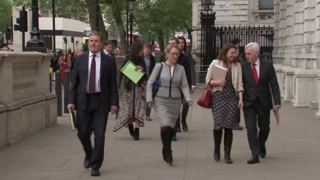 shadow cabinet arrival / keir starmer interview england london westminster whitehall ext sir keir starmer mp rebecca longbailey mp sue hayman mp and... - john mcdonnell politician videos stock videos & royalty-free footage