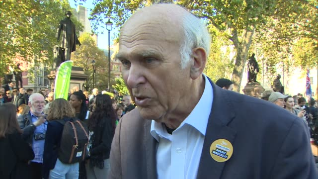sir vince cable and anna soubry interviews; england: london: westminster: parliament sqaure: ext sir vince cable mp interview sot / anna soubry mp... - vince cable stock videos & royalty-free footage