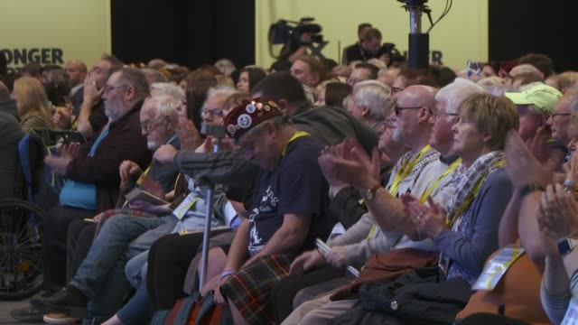 snp conference 2019 / progress of brexit negotiations scotland aberdeen int **ian blackford mp speech heard sot** various shots of delegates sitting... - chaos stock videos & royalty-free footage