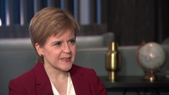 snp conference 2019 / progress of brexit negotiations scotland aberdeen int nicola sturgeon msp interview sot on boris johnson's brexit deal / would... - emotional stress stock videos & royalty-free footage