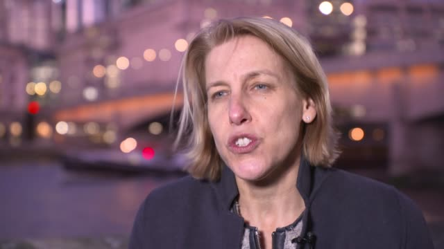 supermarket chains and eurotunnel warn about effects of no-deal; england: london: ext helen dickinson interview sot. - catena di negozi video stock e b–roll