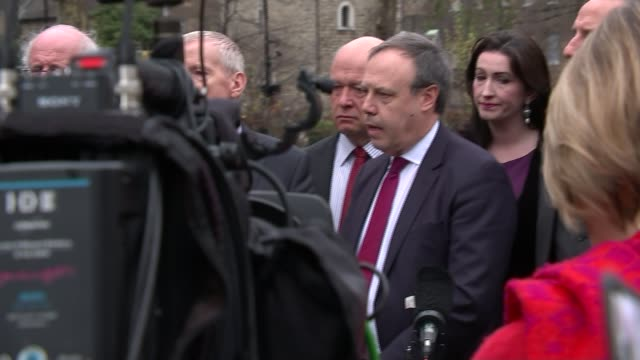 Democratic Unionists accused of preventing deal ENGLAND London Westminster Nigel Dodds speaking at press conference Dodds on camera monitor Dodds and...