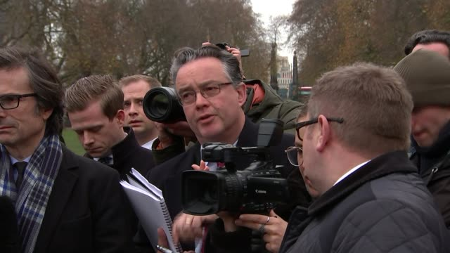 Democratic Unionists accused of preventing deal EXT Press gathered around DUP for press conference Nigel Dodds speaking Gary Gibbon asking question...
