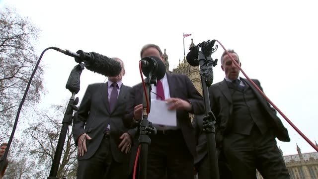 Democratic Unionists accused of preventing deal Westminster Victoria Tower Gardens Nigel Dodds MP and other DUP MPs towards and statement SOT don't...