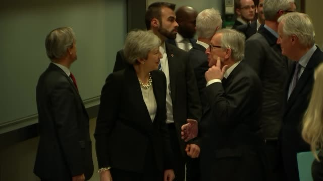 theresa may and jean-claude juncker press conference; belgium: brussels: european commission : jean-claude juncker and theresa may mp arriving for... - brussels capital region stock videos & royalty-free footage