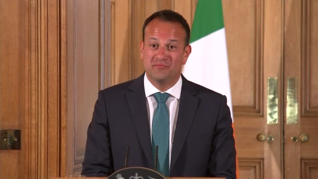 theresa may and leo varadkar joint press conference at downing street theresa may and leo varadkar qa session sot / both leave room at end of press... - leo varadkar stock videos and b-roll footage