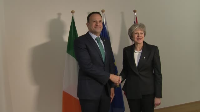 Theresa May and Leo Varadkar photocall in Brussels BELGIUM Brussels INT Theresa May MP and Leo Varadkar shaking hands for photocall