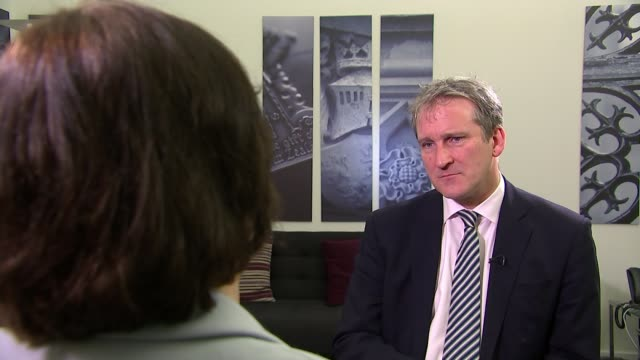 theresa may asks europe for brexit delay until the end of june england london damian hinds mp setup and interview sot majority of mps want a deal - damian hinds stock videos and b-roll footage