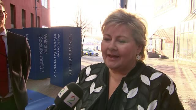 Theresa May attends EU Summit in Sweden Gothenburg EXT Erna Solberg interview as arriving for Summit SOT [are negotiations going well] it looks like...