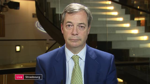 theresa may awaits result of no confidence vote; england: london: westminster: ext / night nigel farage mep live 2-way interview from strasbourg and... - mep stock videos & royalty-free footage