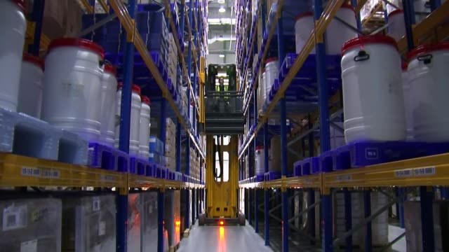 theresa may claims that stockpiling of foods and drugs should be reassuring uk hertfordshire hatfield wood pallets and shelves in medical supplies... - type 1 diabetes stock videos & royalty-free footage