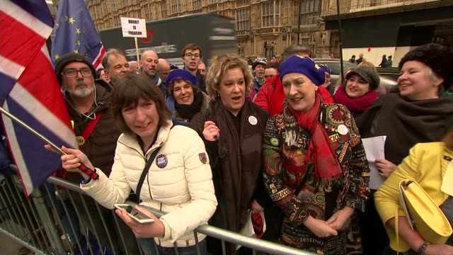 theresa may delays parliament's vote on her brexit deal; england: london: westminster: ext group of anti-brexit protesters singing operatically... - david m. davis politician stock videos & royalty-free footage