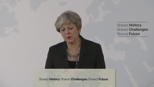 theresa may florence speech; theresa may mp speech sot and there will be areas where we want to achieve the same goals in the same ways, because it... - human face video stock e b–roll