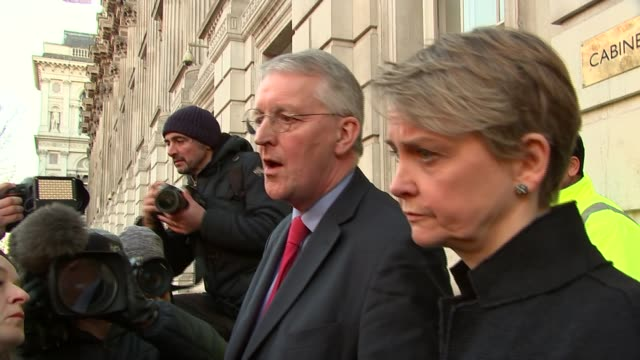 Theresa May holds crossparty Brexit talks in bid to break deadlock ENGLAND London Westminster Whitehall EXT Hilary Benn MP speaking to press outside...