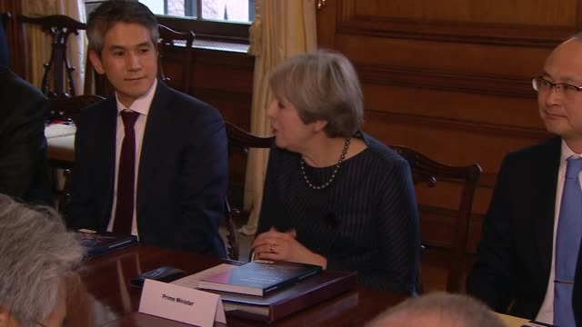 Theresa May hosts meeting with Japanese business leaders ENGLAND London Downing Street INT Theresa May MP speaking at meeting with Japanese business...