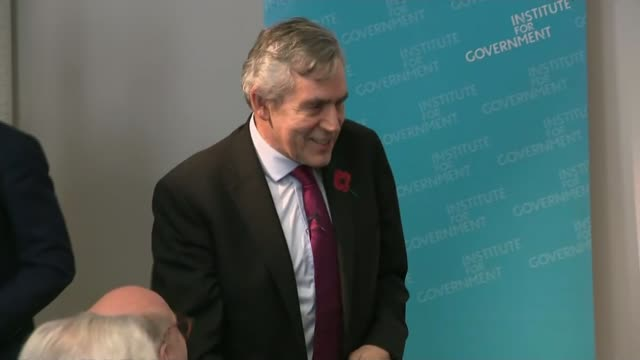 Theresa May insists she will not sign deal 'at any cost' as chances of November ENGLAND London INT Gordon Brown speech to Institute for Government...