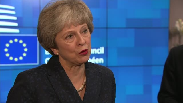 Theresa May interview BELGIUM Brussels INT Theresa May MP interview SOT on Gibraltar