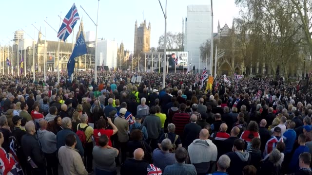 theresa may loses third vote on her eu deal england london westminster ext wide shot of large crowd of probrexit supporters gathered in parliament... - group of people stock videos & royalty-free footage