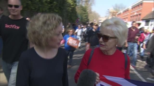 theresa may loses third vote on her eu deal 'march to leave' probrexit protests in westminster england london fulham ext 'march to leave' walkers... - marching stock videos and b-roll footage