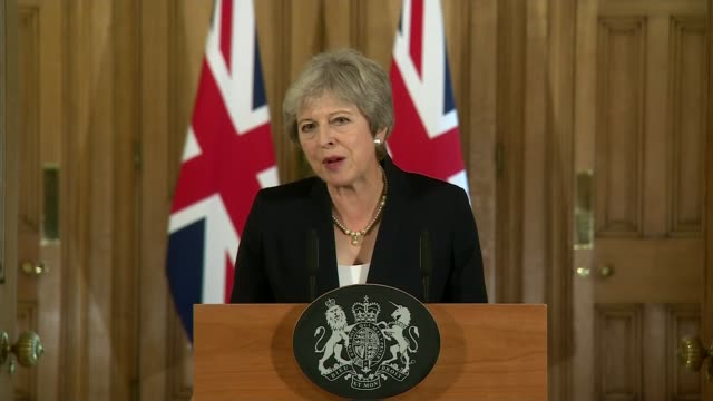 theresa may makes downing street statement calling for more respect from eu england london downing street int theresa may mp towards to podium... - theresa may stock videos & royalty-free footage