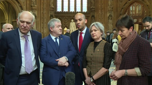 theresa may meets with jeremy corbyn for talks; england: london: westminster: house of commons lobby: int chuka umunna mp making statement alongside... - vince cable stock videos & royalty-free footage
