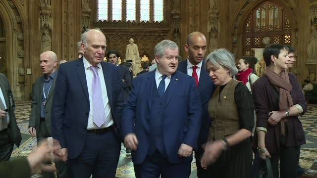 theresa may meets with jeremy corbyn for talks; england: london: westminster: house of commons lobby: int sir vince cable mp , ian blackford mp ,... - vince cable stock videos & royalty-free footage