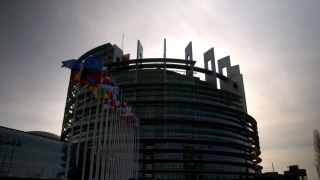 Theresa May no confidence vote reaction in Strasbourg FRANCE Grand Est Strasbourg European Parliament EXT General view Louise Weiss Building Low...