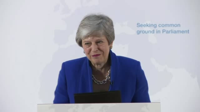 Theresa May offers MPs vote on second EU referendum ENGLAND London Charing Cross INT Theresa May MP away from podium