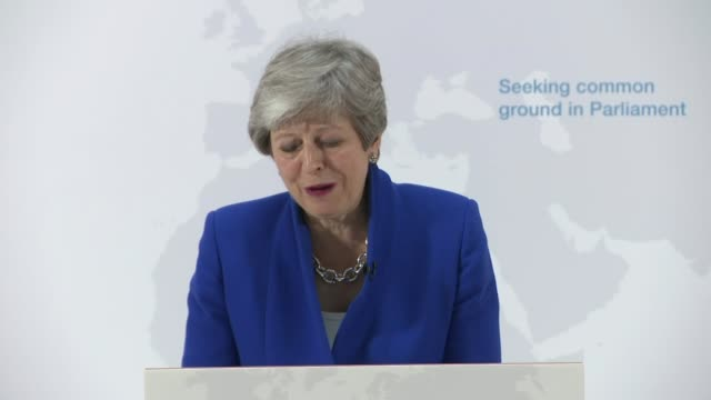 Theresa May offers MPs vote on second EU referendum ENGLAND London Charing Cross PwC INT Theresa May MP towards up to podium Low angle shot PwC...
