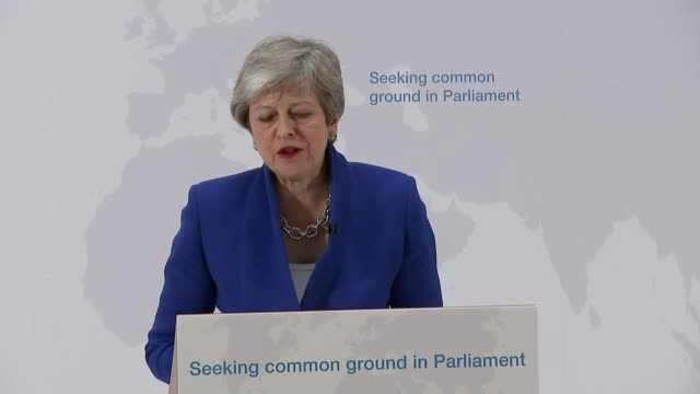 Theresa May offers MPs vote on second EU referendum UK London Charing Cross Theresa May speech on Brexit and cutaways at lectern Downing Street...