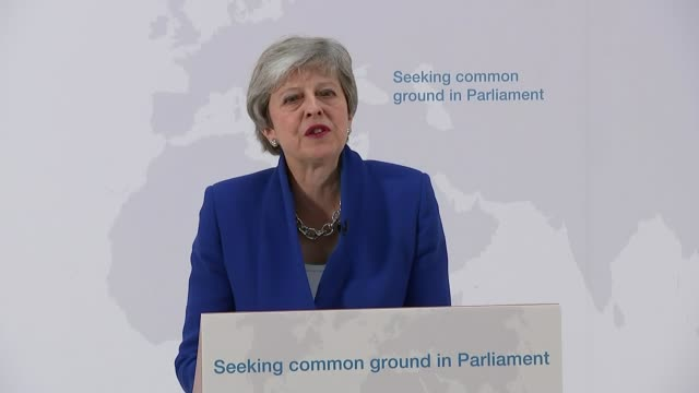theresa may offers mps vote on second eu referendum uk london charing cross theresa may speech on brexit and cutaways at lectern westminster jeremy... - jeremy corbyn stock videos and b-roll footage