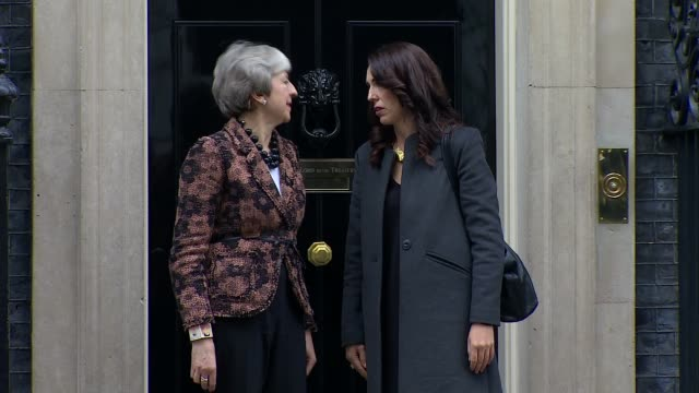 theresa may outlines brexit 'plan b' in statement to house of commons england london westminster downing street ext theresa may mp and jacinda ardern... - governmental occupation stock videos & royalty-free footage