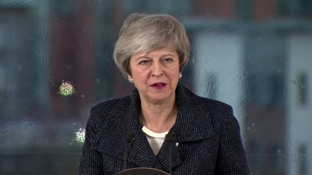 theresa may reaffirms commitment to avoiding a hard border in ireland uk northern ireland belfast theresa may speech on avoiding a hard border in... - theresa may stock videos & royalty-free footage